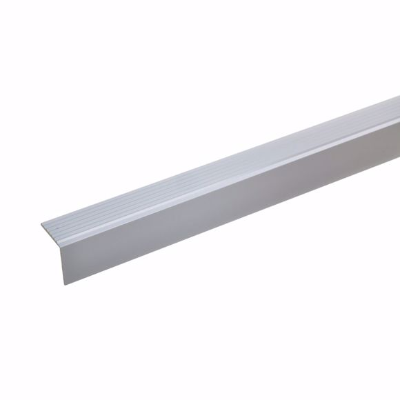 Picture of 20x20mm Treppenwinkel 100cm silber Aluminium Kantenprofil selbstklebend