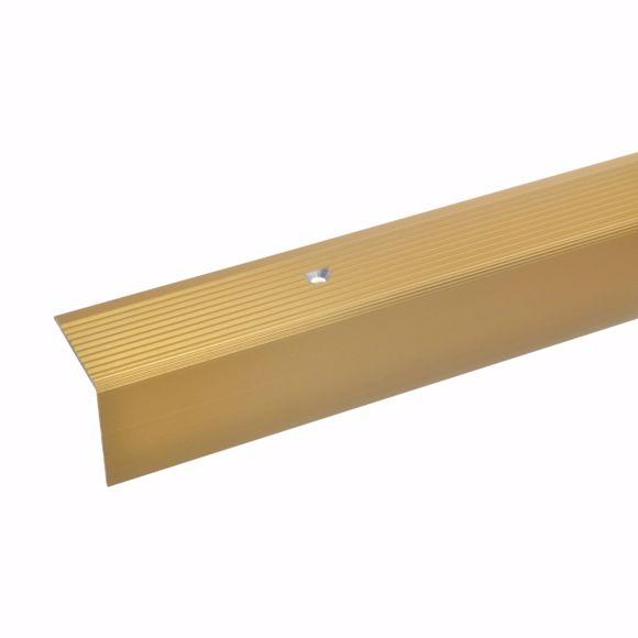 Bild von 30x30mm Treppenwinkel 135cm gold gebohrt Alu Kantenprofil Kantenschutz