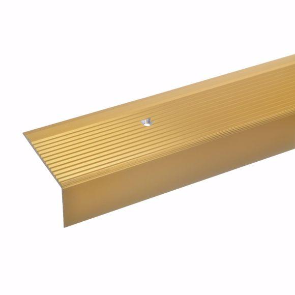 Image sur 28x50mm Treppenwinkel 135cm gold gebohrt Aluminium Kantenschutz Kantenprofil