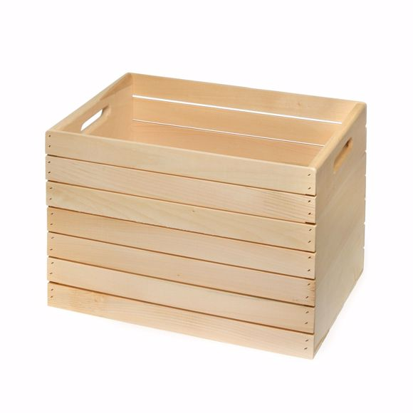 Picture of Holzkiste Groß aus Fichtenholz Box für Aufbewahrung Küche Bad Keller Werkstatt