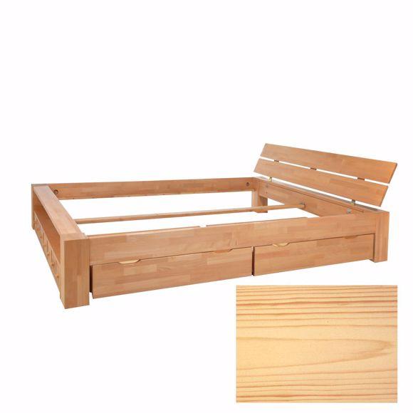 Bild von Doppelbett Kalifornien Kiefer massiv Schubladen Balkenbett Handarbeit 180x200