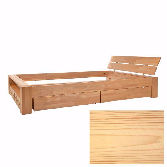Image sur Doppelbett Kalifornien Kiefer massiv Schubladen Balkenbett Handarbeit 140x200