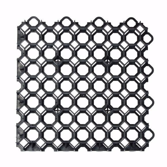 Image sur 8x Rasengitter Kunststoff schwarz 49x49x4 cm Befahrbar Rasengitterplatten 2m²