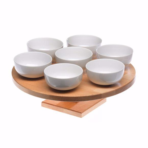 Image sur Servierplatte aus Holz drehbar im Set mit 7 Keramik Schälchen (7x 12,5cm)