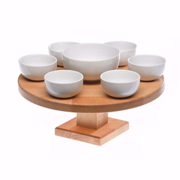 Image sur Servierplatte 30cm aus Holz drehbar im Set mit 7 Keramik Schälchen (6x klein, 1x groß)